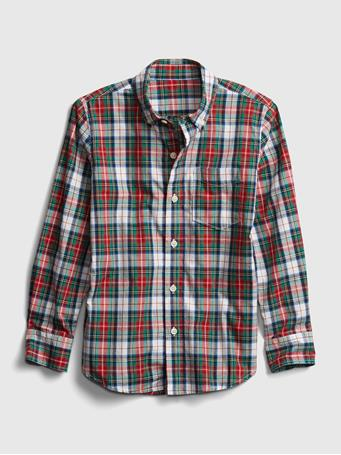 GAP - Kids Plaid Oxford Shirt RED