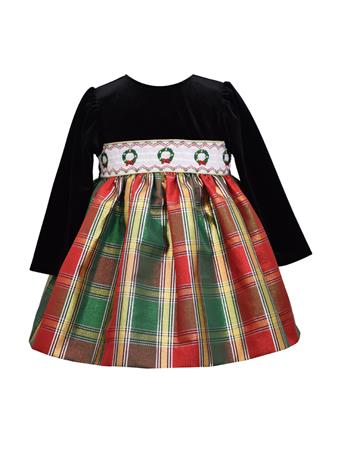 BONNIE JEAN - Smocked Plaid Dress RED
