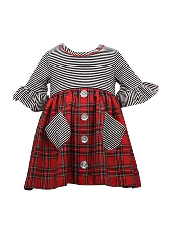BONNIE JEAN - Knit to Red Plaid Dress RED