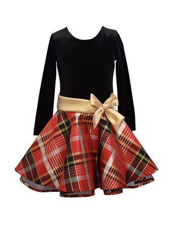 BONNIE JEAN - Long Sleeve Plaid Hipster Dress BLACK