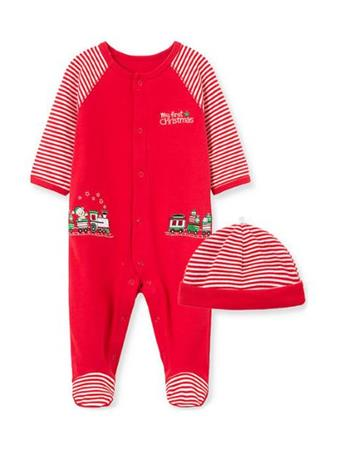 LITTLE ME - Train Footie Pajamas with Hat RED