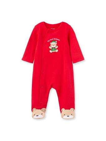 LITTLE ME - Holiday Bear Footie Pajamas RED