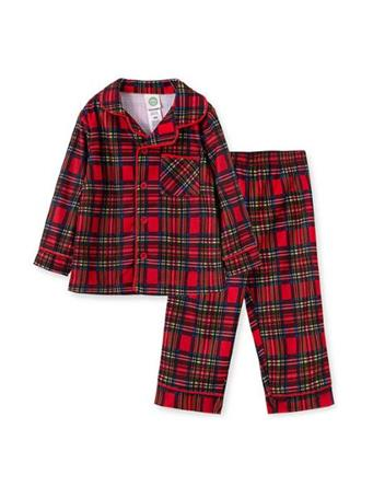 LITTLE ME - Boys Plaid 2 Piece Pajama Set RED