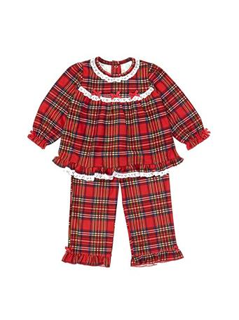 LITTLE ME - Girl Plaid 2 Piece Pajama Set (12M-24M) RED
