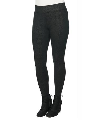 DEMOCRACY - Coated Snake Print Ponte Glider Pant Legging  BLACK