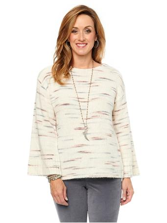 DEMOCRACY - Long Sleeve Space Dye Sweater Ivory Multi Sweater IVORY MULTI