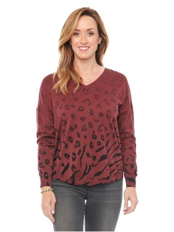 DEMOCRACY - Long Sleeve V Neck Ombre Animal Sweater ZINFANDEL MULTI
