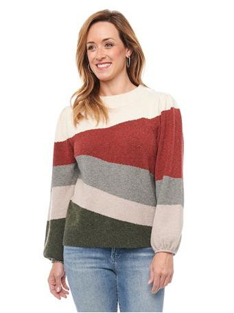 DEMOCRACY - Long Sleeve Puff Shoulder Wavy Intarsia Sweater IVORY/SUNDRIED TOMATO MULTI
