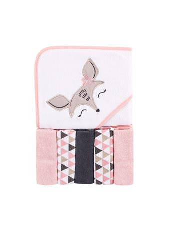 LUVABLE FRIENDS - Hooded Towel and 5 Washcloths, Deer, One Size MULTI