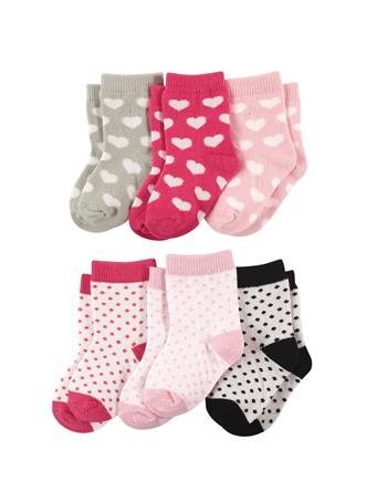 LUVABLE FRIENDS - 6 Pack Crew Sock Hearts Dots MULTI