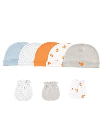 LUVABLE FRIENDS - Boy 8 Pack Cap And Scratch Mitt Set MULTI