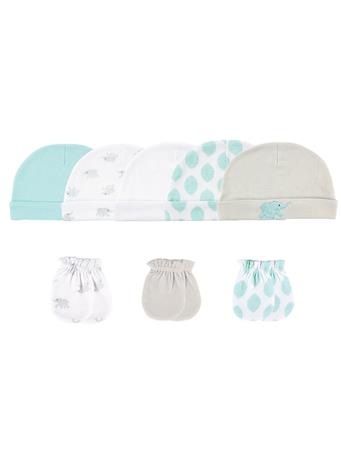 LUVABLE FRIENDS - Neutral 8 Pack Cap And Scratch Mitt Set MULTI