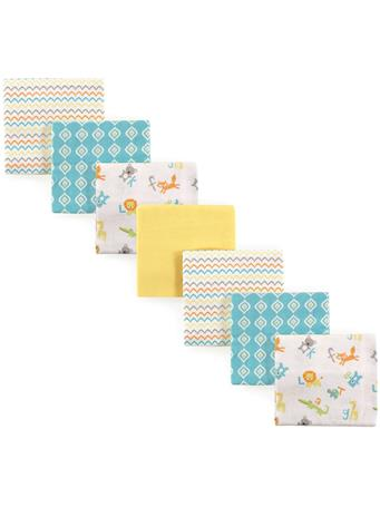 LUVABLE FRIENDS - Flannel Receiving Blanket, 7-Pack, ABC MULTI