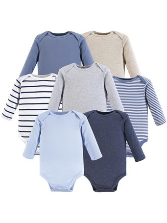 HUDSON BABY - Long Sleeve Bodysuits, 7-Pack, Boy Basics MULTI