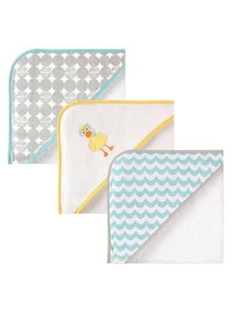 LUVABLE FRIENDS -  Hooded Towels, 3-Pack, Scuba Duck No Color