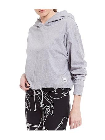 DKNY - Sport Cropped Hoodie Logo patch Pullover PEARL GREY HEATHER
