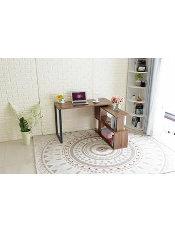 Corner Desk with Bookshelf DARK WOOD
