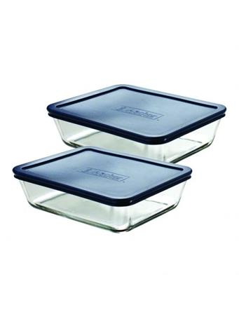 ANCHOR HOCKING - Classic Rectangular Glass Food Storage with Navy Lid, 6 Cups, Set of 2 BLUE