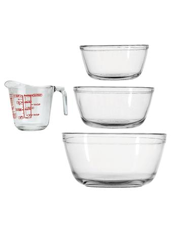 ANCHOR HOCKING - 4-Piece Mixing Bowls and Measuring Cup No Color
