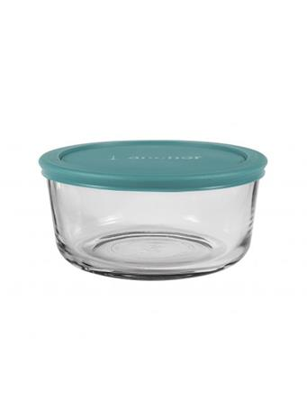 ANCHOR HOCKING - Classic Round Glass Food Storage with Teal Lid, 4 Cups No Color