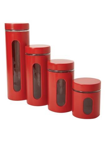 ANCHOR HOCKING - Palladian Window Cylinder 4 Piece Set in Cherry Red