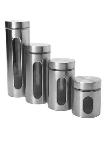 ANCHOR HOCKING - Palladian Window Cylinder 4 Piece Set in Stainless Steel Grey
