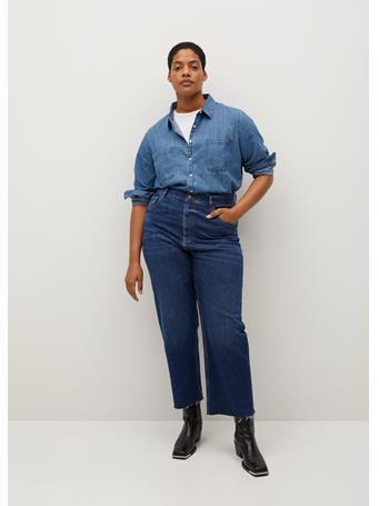 Violeta by MANGO - High Waist Straight Jeans NAVY