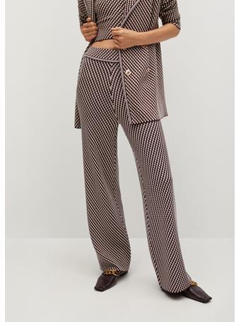 MANGO - Knitted Pants With Geometric Print DARK RED