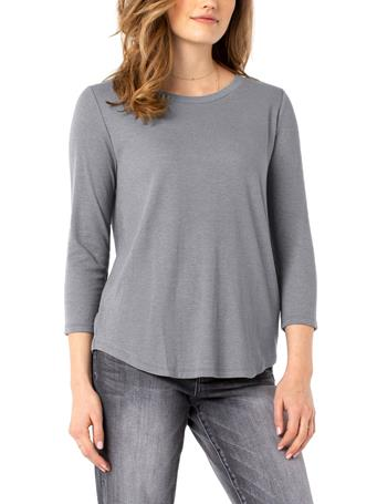 LIVERPOOL - 3/4 Sleeve Knit Tee HEATHER GREY
