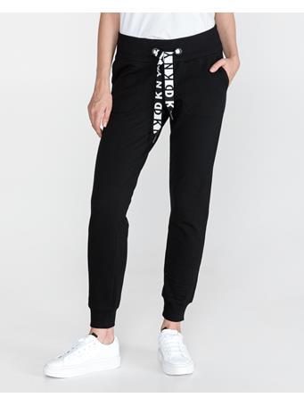DKNY - 2 Tone Logo Draw Cord Jogger (Fleece) BLACK