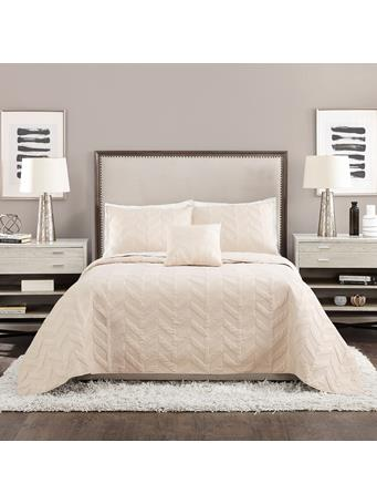 AYESHA CURRY - Texture Chevron 4 Piece Coverlet Set CREAM