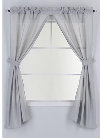 KASHI HOME - Emerson Solid Canvas Bath Curtain GREY
