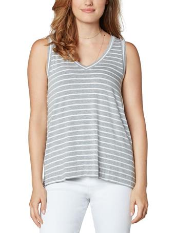 LIVERPOOL - Sleeveless V-Neck Stripe Tee LT HGREY/WHT S