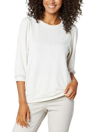 LIVERPOOL - Puff Sleeve Knit Top HEATHER CREAM