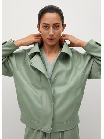 MANGO - Puffed Leather-effect Jacket GREEN