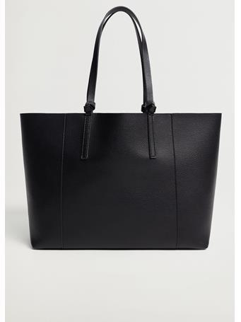 MANGO - Pebbled Effect Shopper Bag BLACK