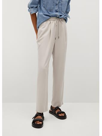 MANGO - Drawstring Flowy Pants LIGHT BEIGE