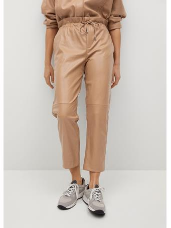 MANGO - Leather-effect Elastic Waist Trousers LIGHT BEIGE