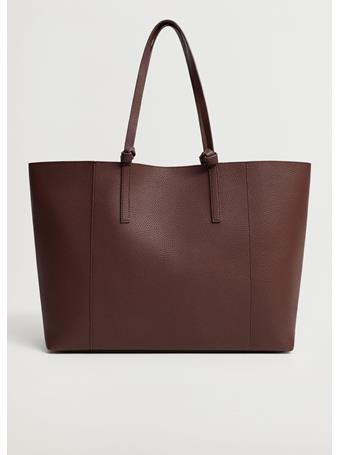 MANGO - Pebbled Effect Shopper Bag DARK RED
