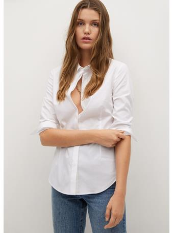 MANGO - Essential Cotton-blend Shirt NATURAL WHITE
