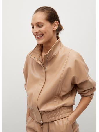 MANGO - Faux Leather Jacket LIGHT BEIGE