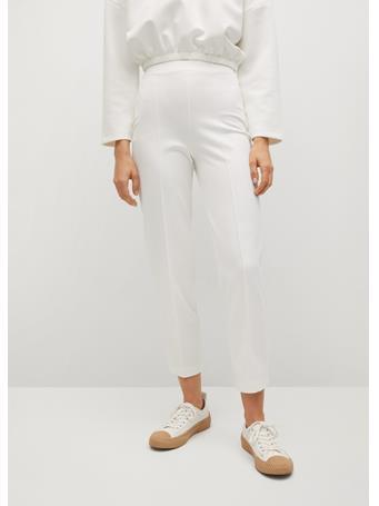 MANGO - Elastic Waist Pants WHITE
