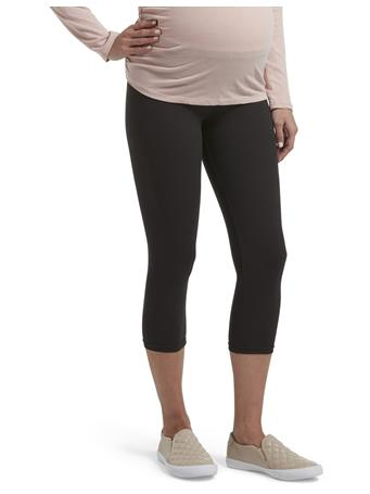 HUE - Under Belly Soft Knit Maternity Capri BLACK