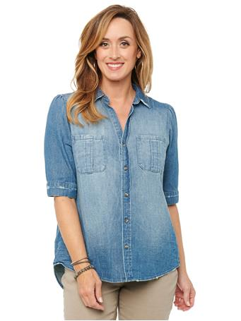 DEMOCRACY - Puff Elbow Sleeve Button Down Washed Denim Shirt BLUE