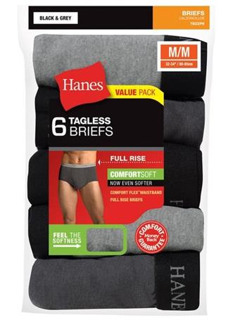 HANES - 6 Pack Full Rise Dyed Brief MULTI
