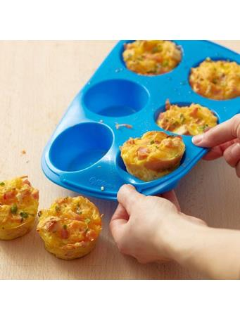 WILTON - Easy-Flex Silicone Muffin and Cupcake Pan, 6 Cup - Blue {#color}