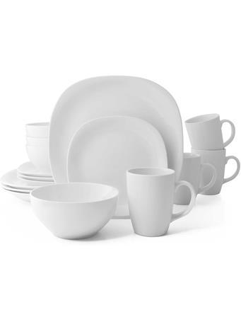 THOMSON POTTERY - 16 Piece Quadro Dinnerware Set WHITE