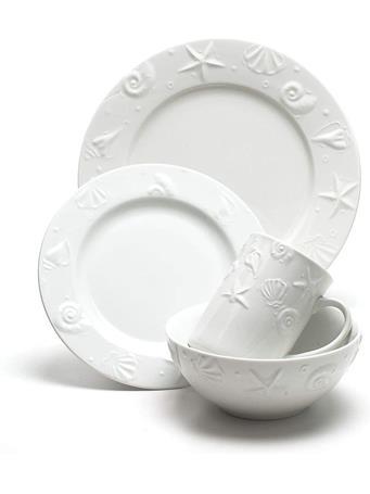 THOMSON POTTERY - 16 Piece Seashell Dinnerware Set WHITE
