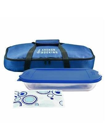 ANCHOR HOCKING - 4 Piece Bakeware Set with Tote - Navy {#color}