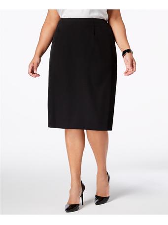KASPER - Stretch Crepe Skimmer Skirt  - Available in Plus Sizes BLACK